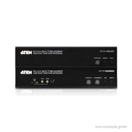 ATEN CE774 – KVM Extender Set Dual VGA, USB, RS-232, Audio – Vorderseite